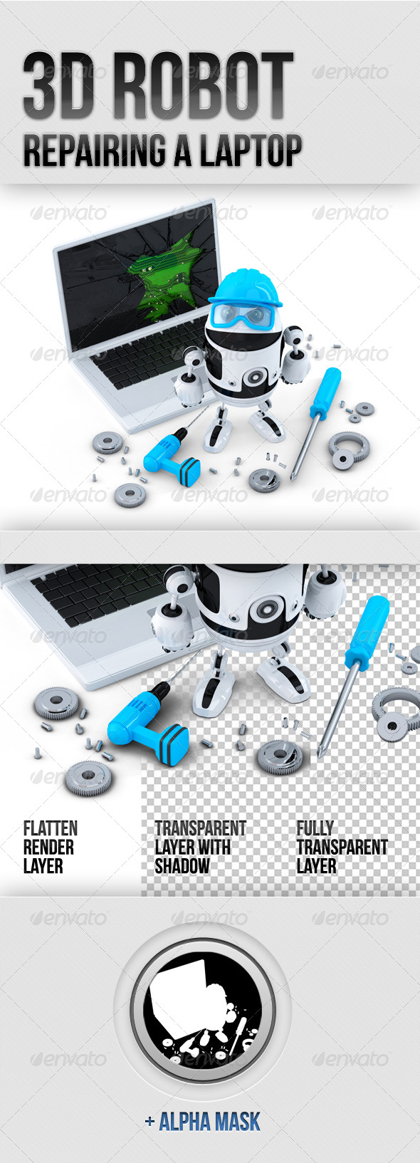 GraphicRiver 3D Robot Repairing Laptop 5884692