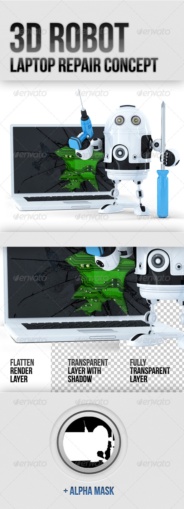 GraphicRiver 3D Robot with Broken Laptop 5885052