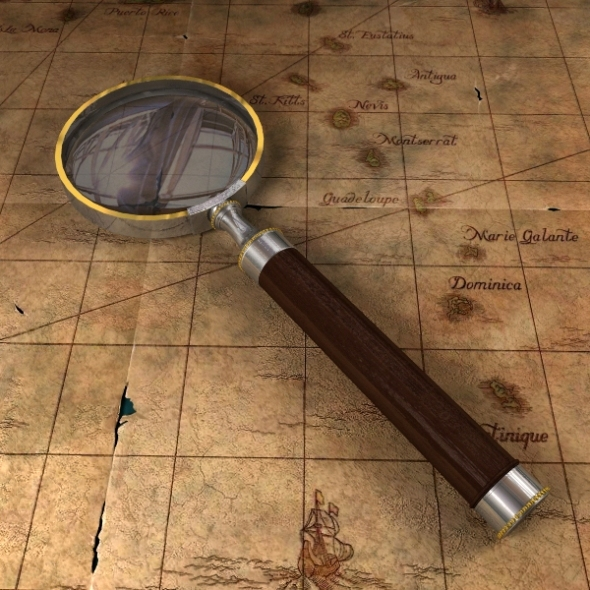 3DOcean Antique Magnifying Glass & Pirate Map 611248