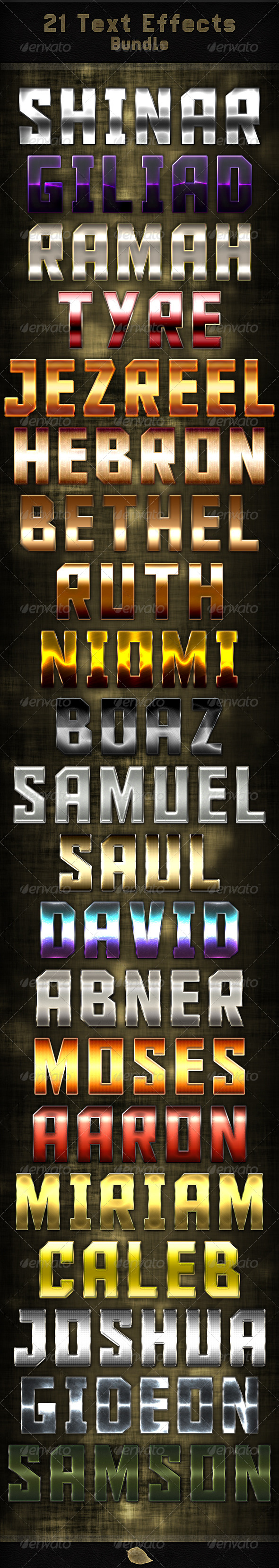 GraphicRiver 21 Text Effects Bundle 5885369