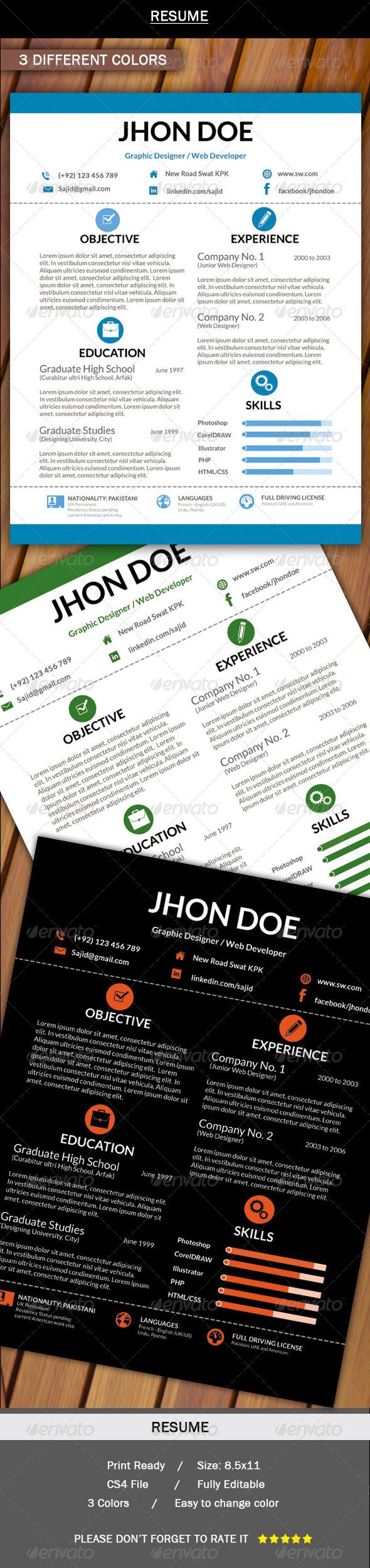 GraphicRiver Job Resume Clean & Smart 5885596