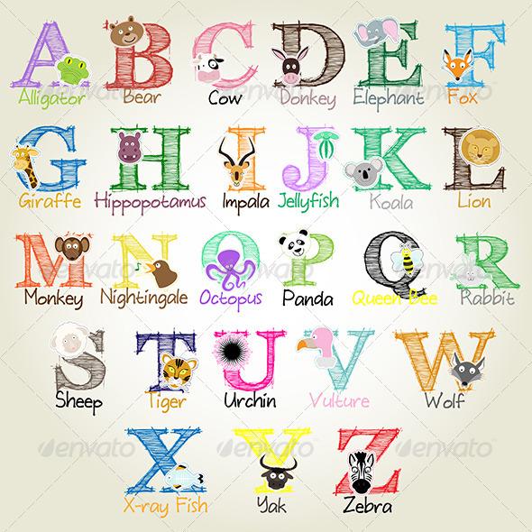 GraphicRiver Illustrated Alphabet Animals 5885785