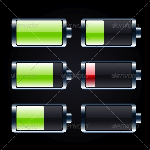 GraphicRiver Glossy Battery Icons Set 5885983