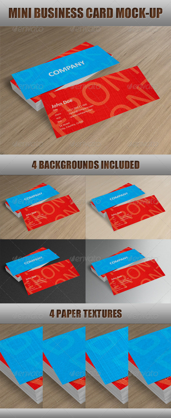 GraphicRiver Mini Business Card Mock-Up 611340