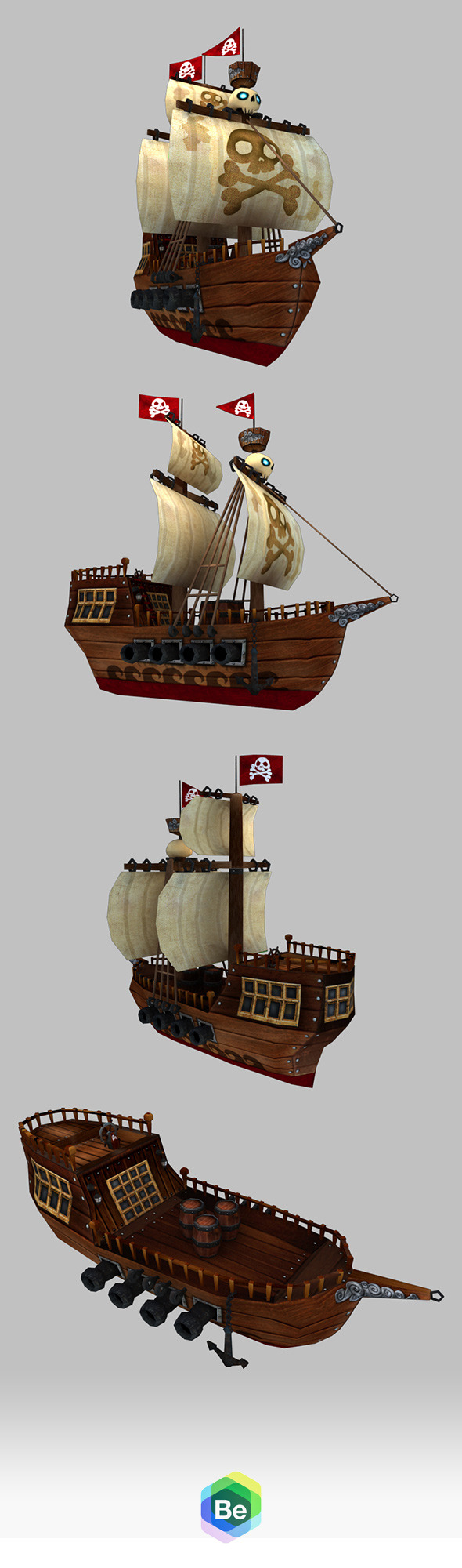 3DOcean Low Poly Cartoonish Pirate Ship 5886141