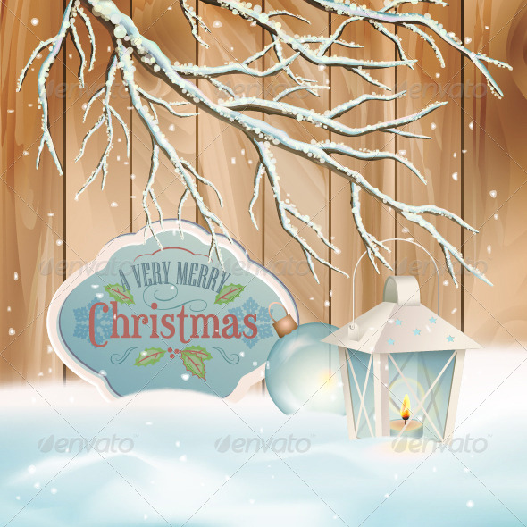 GraphicRiver Vector Vintage Christmas Branch Lantern Background 5886152