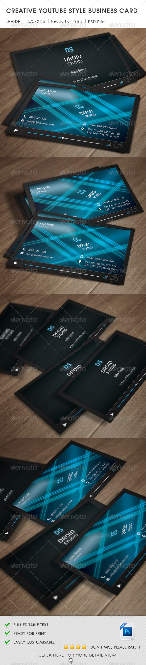 Creative Youtube Style Business Card