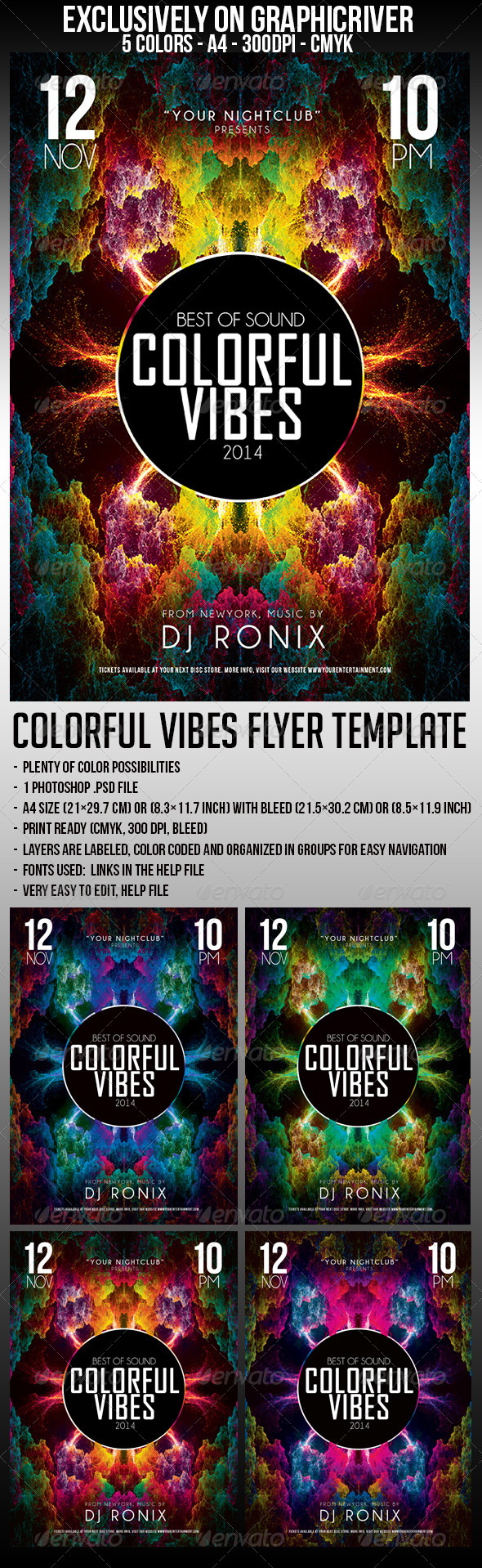 GraphicRiver Colorful Vibes Flyer Template 5886388