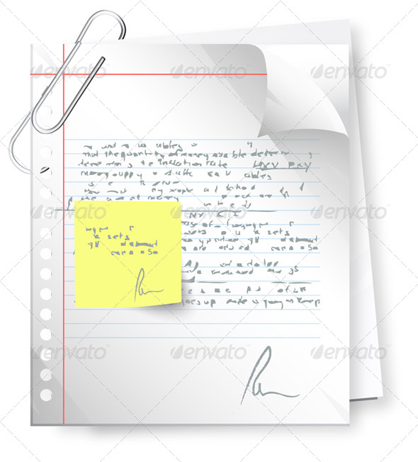 Text Document with Revision Note Illustration
