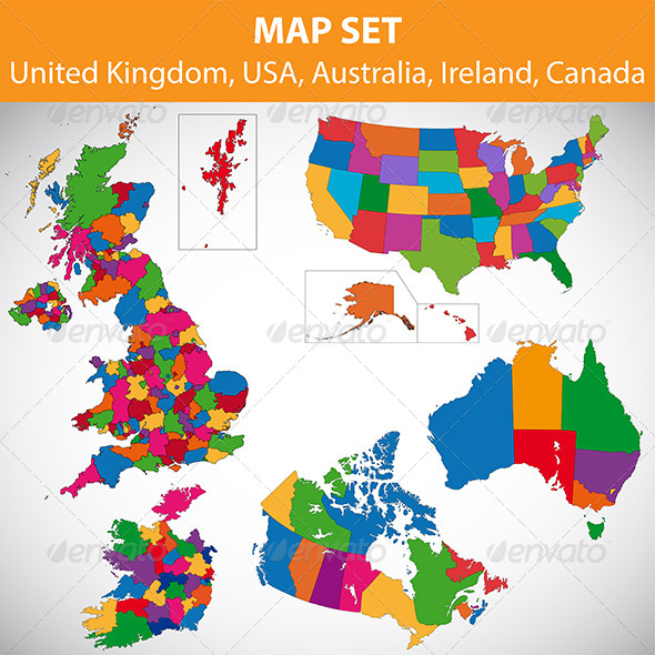 GraphicRiver Map set UK USA Canada Australia Ireland 5886646