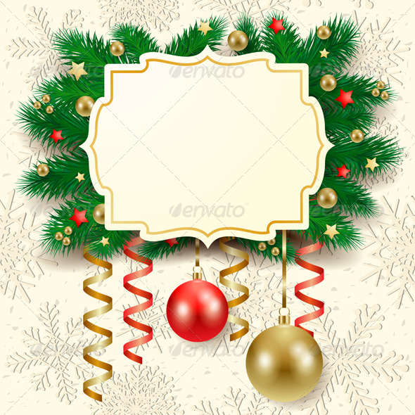 Christmas Background with Label - Christmas Seasons/Holidays