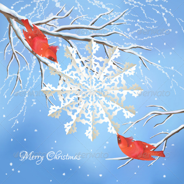Christmas Snowflake Birds Tree Branch Background