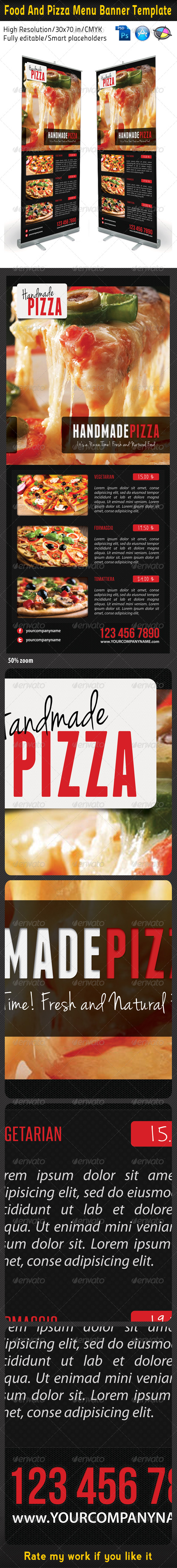 Food And Pizza Menu Banner Template 02 - Signage Print Templates