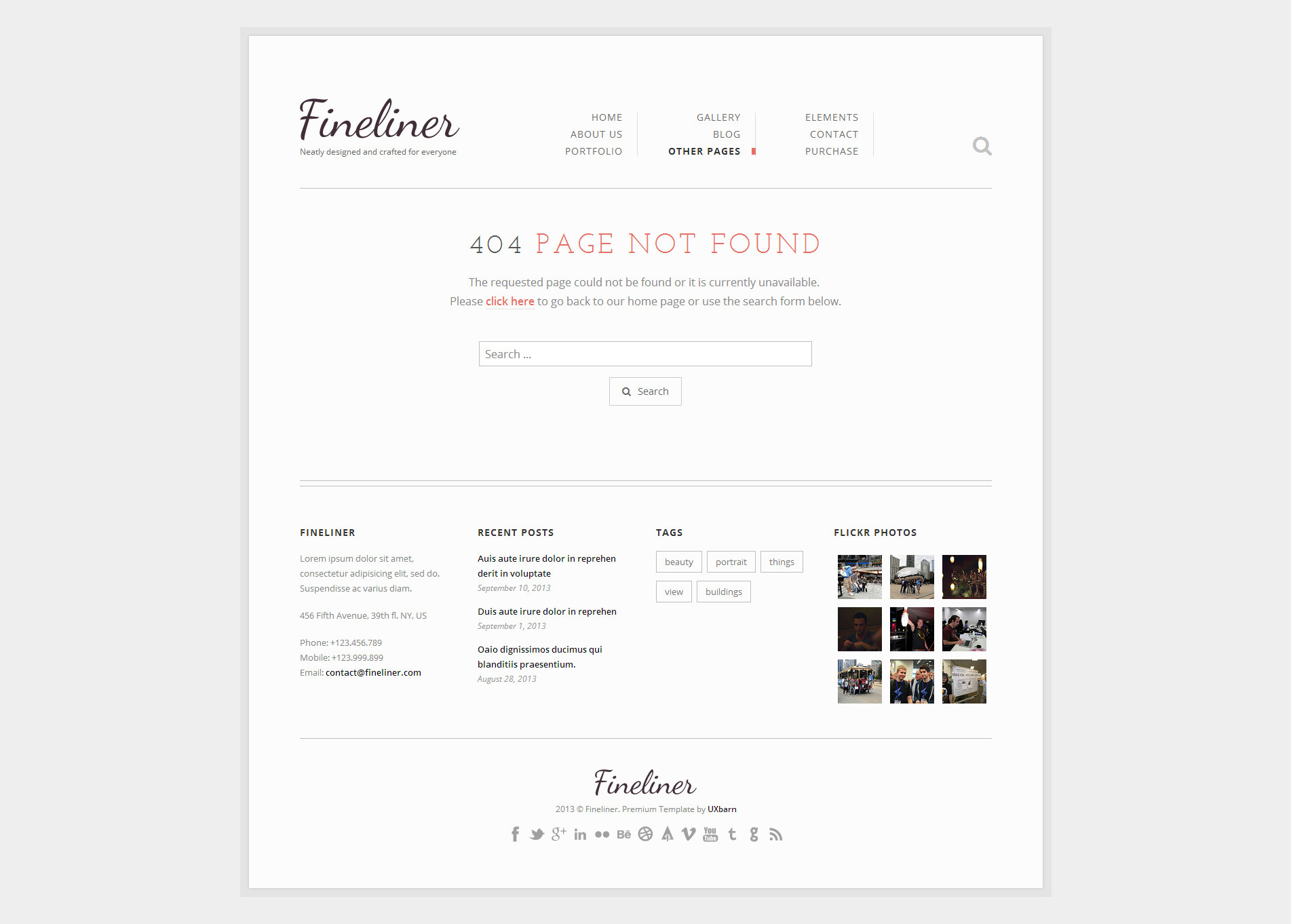 Fineliner responsive portfolio html template by uxbarn for 404 not found html template