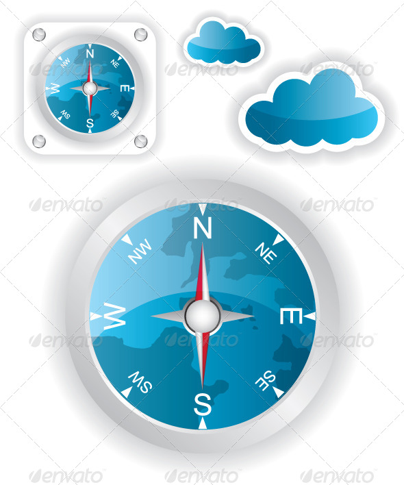 GraphicRiver White Compass and Cloud Icons Illustration 5889059