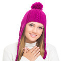 Cute teenage girl wearing pink knitted hat - PhotoDune Item for Sale