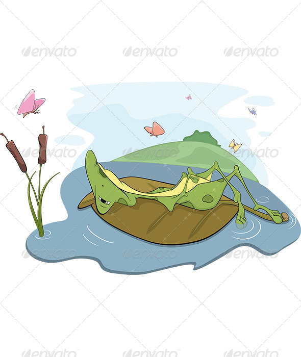 GraphicRiver Frog on a Bog Cartoon 5889543