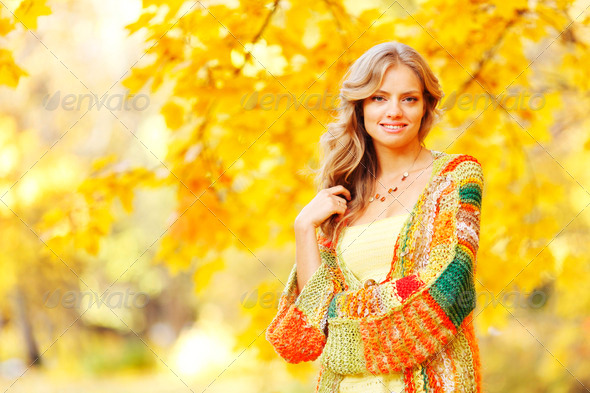 Autumn woman - Stock Photo - Images