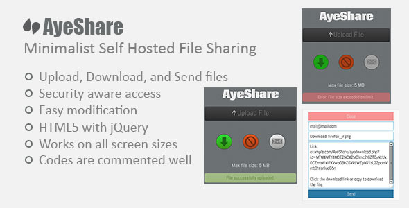 CodeCanyon AyeShare Minimalist Self Hosted File Sharing 5860307