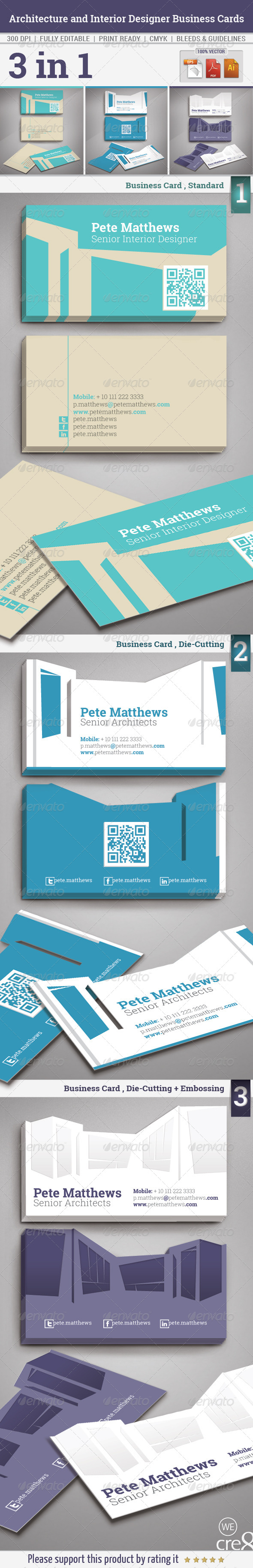 GraphicRiver Architecture and Interior Designer Business Cards 5856984