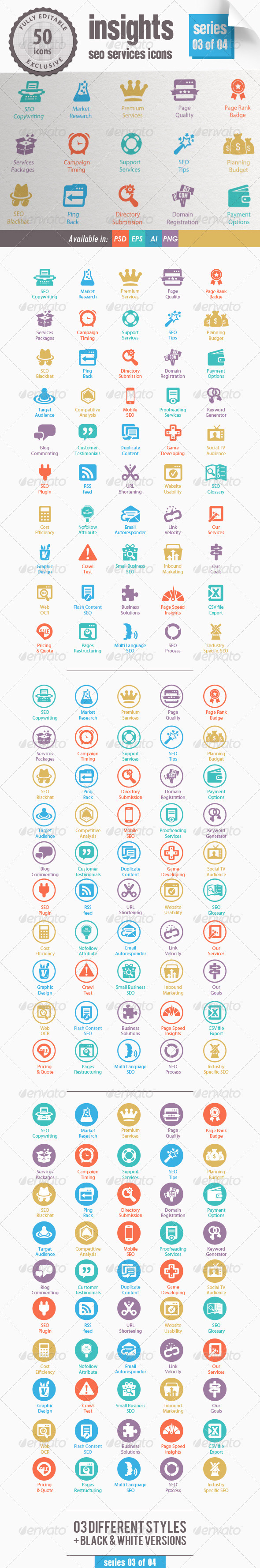Insights SEO Services Icons - Series 03 of 04 - Web Icons