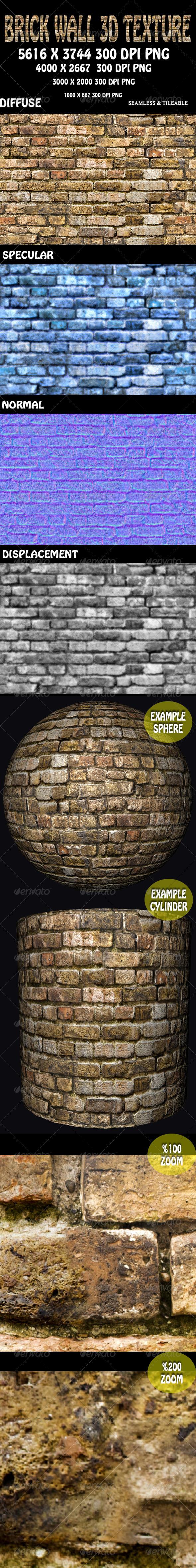 3DOcean Brick Wall 3D Texture 5891349