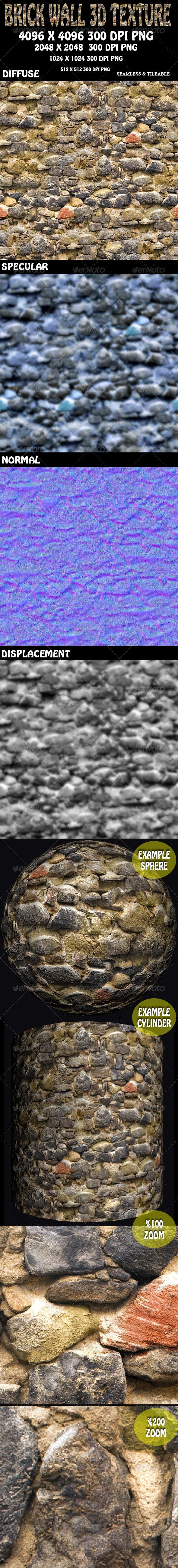 3DOcean Brick Wall 2 3D Texture 5891721