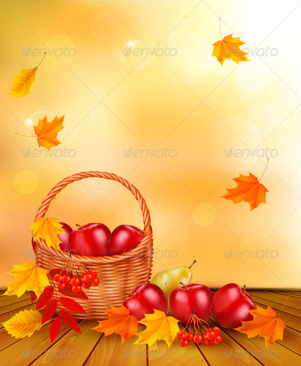 GraphicRiver Autumn Background with Fresh Fruit in Basket 5891947
