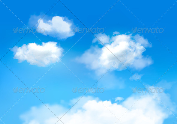 GraphicRiver Blue Sky with Clouds Vector Background 5891953
