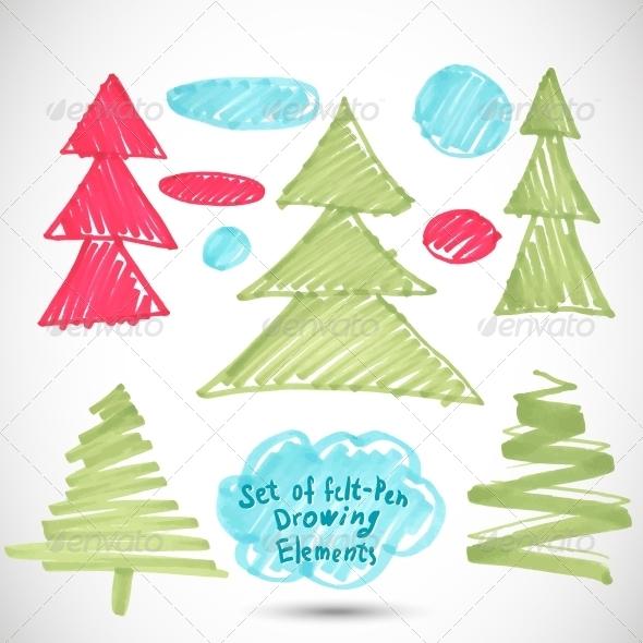 GraphicRiver Christmas Tree Doodle Set Felt Pen Tree 5892033