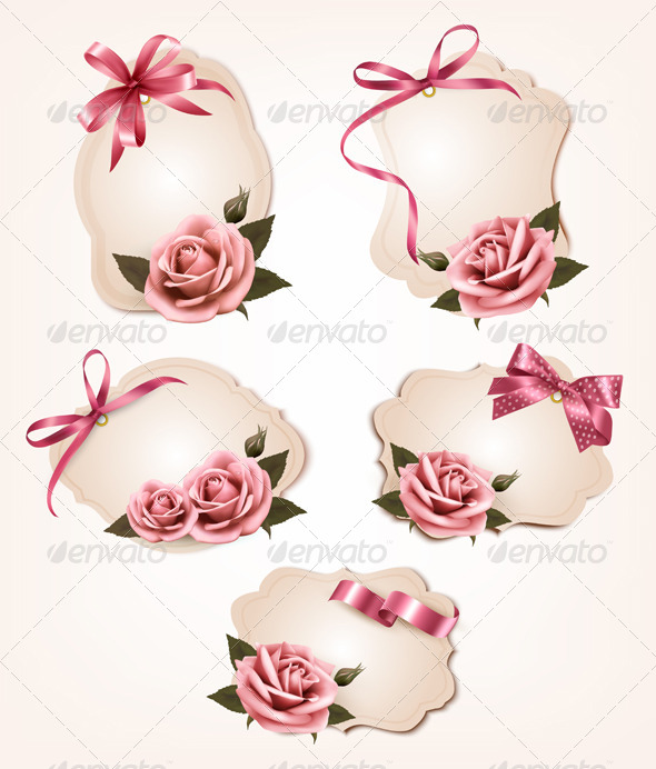 GraphicRiver Collection of Retro Greeting Cards with Pink Roses 5892092