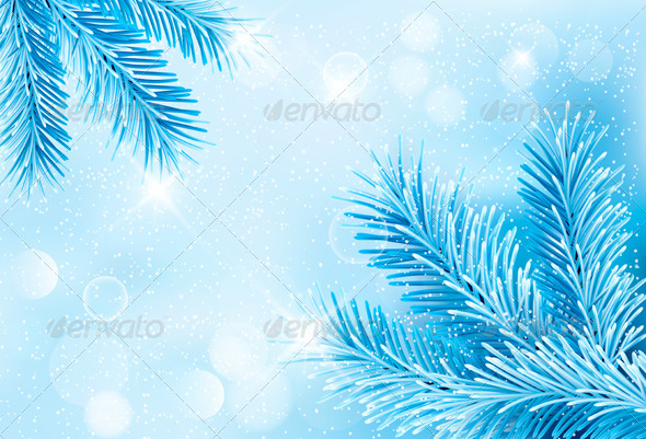 GraphicRiver Christmas Blue Background with Christmas Tree 5892103