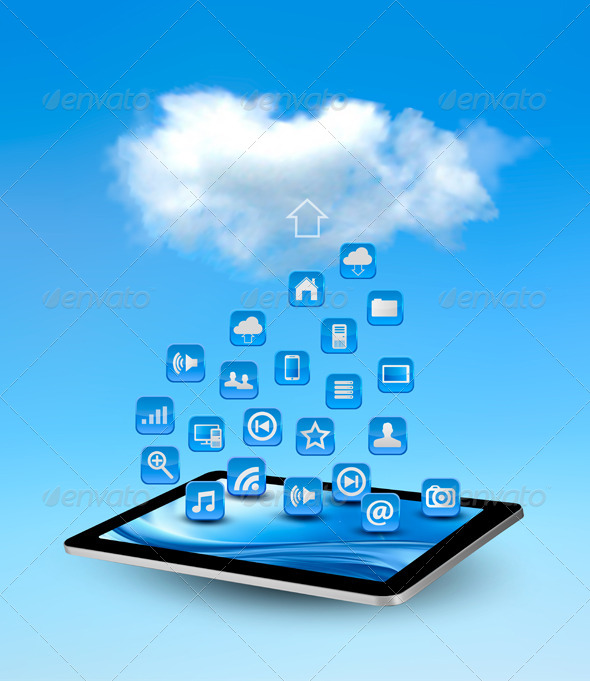 GraphicRiver Cloud Computing Concept Background with Icons 5892116