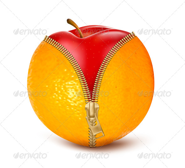 Unzipped Orange with Red Apple
