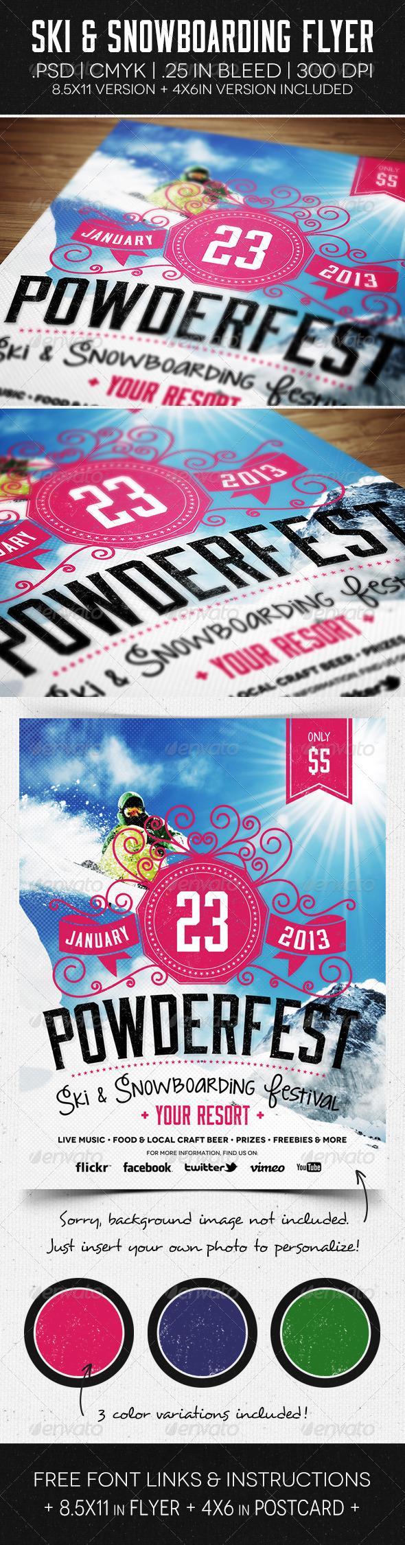 GraphicRiver Ski & Snowboard Flyer & Postcard 5892121