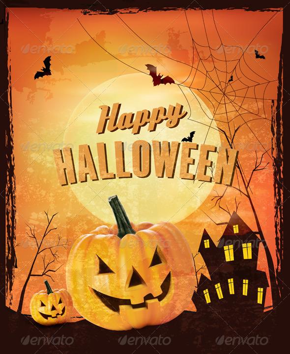 GraphicRiver Retro Halloween Background Vector 5892123