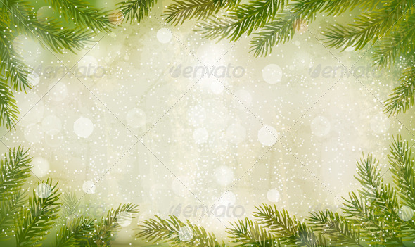 GraphicRiver Christmas Retro Background with Christmas Tree 5892130