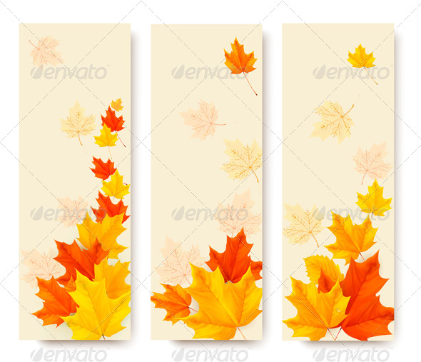 GraphicRiver Three Autumn Banners with Colorful Leaves 5892165