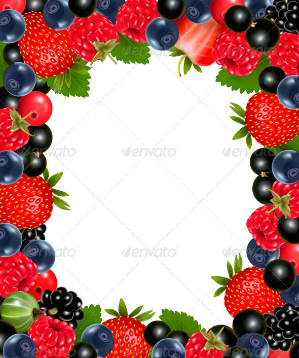 GraphicRiver Background with Fresh Berries and Cherries 5892173