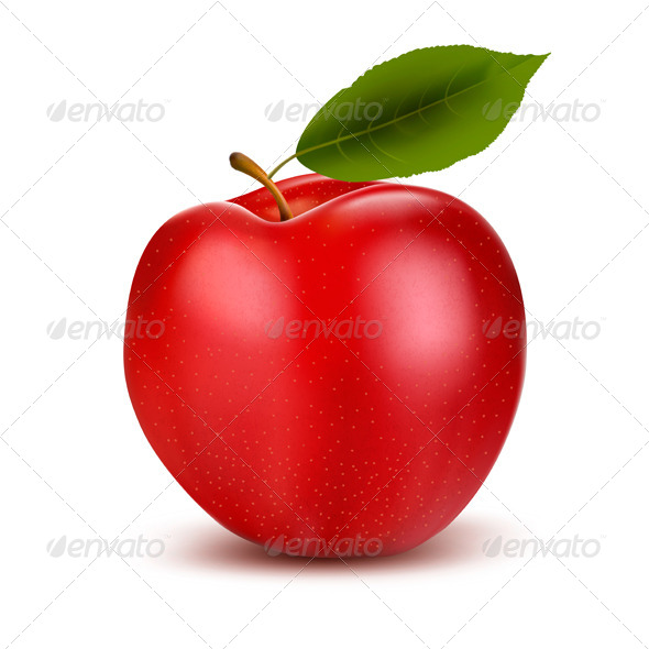 GraphicRiver Red Apple and Green Leaf 5892175