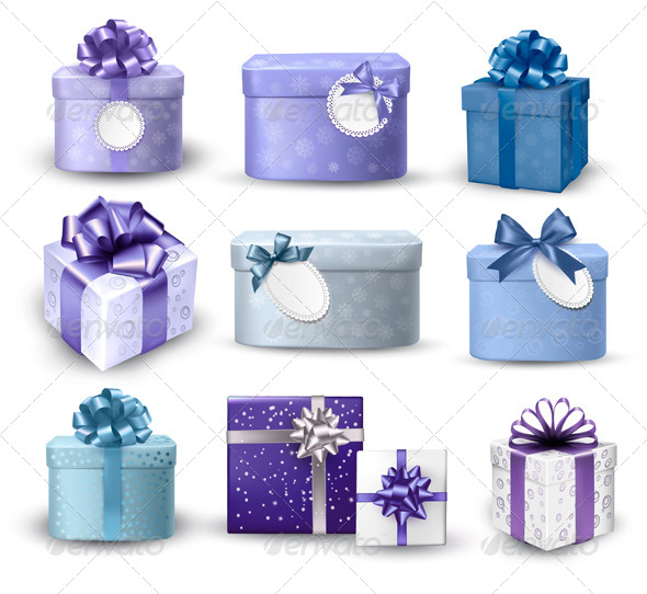 GraphicRiver Set of Colorful Gift Boxes with Bows and Ribbons 5892178