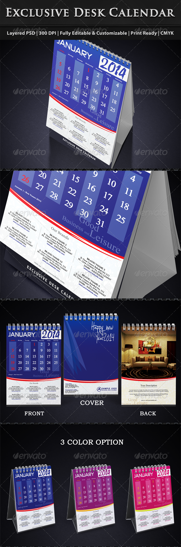 GraphicRiver Exclusive Desk Calendar Template 2014 5828660