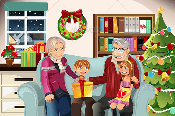 GraphicRiver Grandparents and Grandchildren on Christmas Time 5892282