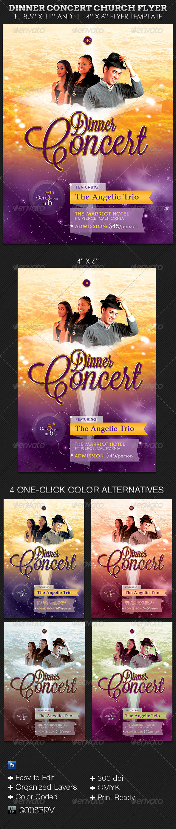 Dinner Concert Church Flyer Template - Church Flyers