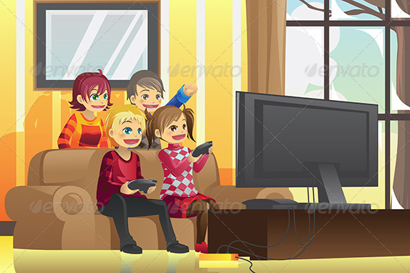 GraphicRiver Kids Playing Video Games 5892469