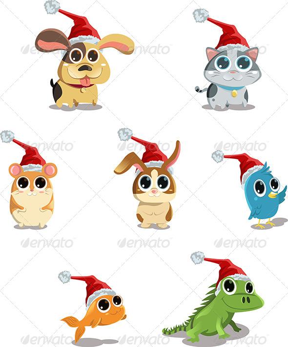 Animals Wearing Santa Hat