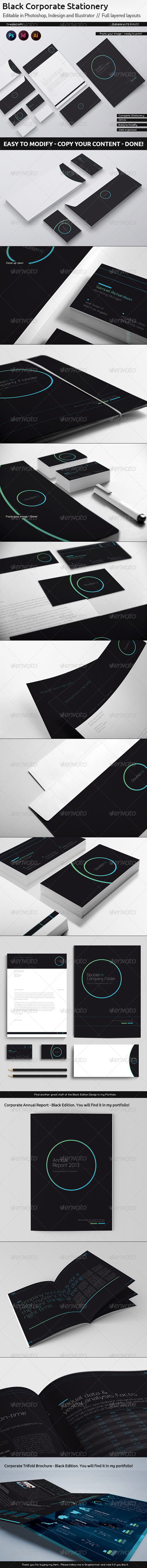 GraphicRiver DoubleInk Corporate Stationery Black Edition 5893000