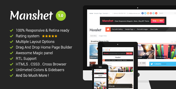 ThemeForest Manshet Retina Responsive WordPress News Magazine 5874125