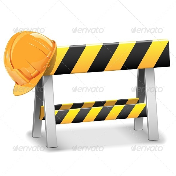 GraphicRiver Vector Under Construction Barrier with Helmet 5893245