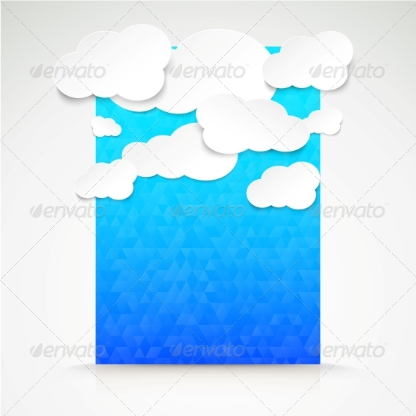 GraphicRiver Paper Clouds with Blue Illustration Background 5893246